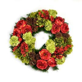 Autumn Rose and Pinecone Wreath