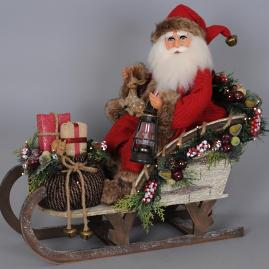 Karen Didion Lighted Woodland Sled Santa