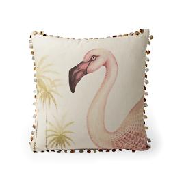 Handpainted Flamingo Decorative Pillow