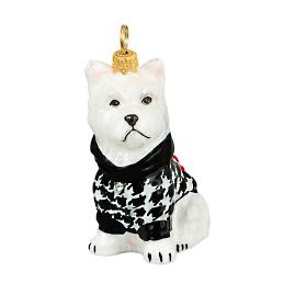 Diva Dog Westie in Houndstooth Sweater Ornament