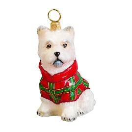 Diva Dog Westie in Tartan Plaid Hoodie Ornament