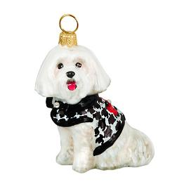 Diva Dog Maltese in Houndstooth Sweater Ornament