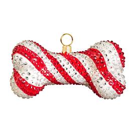 Candy Cane Crystal Encrusted Dog Bone Ornament