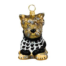 Diva Dog Yorkie Puppy with Houndstooth Sweater Ornament