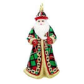 Tartan Plaid Jeweled Santa Ornament