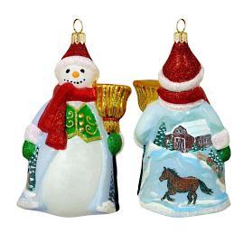 Glitterazzi Snowy Barn Scene Snowman Ornament