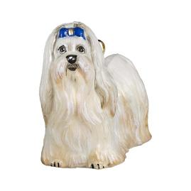 Maltese with Blue Bows Ornament