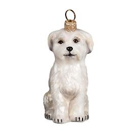 Sitting Maltese Puppy Ornament