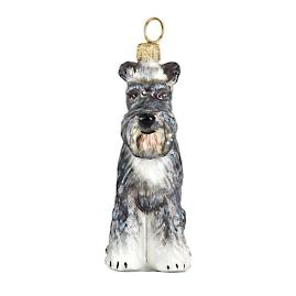 Gray Schnauzer with Flop Ears Ornament
