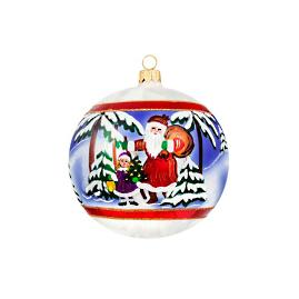 Vintage Euro Santa Reflector Ball Ornament