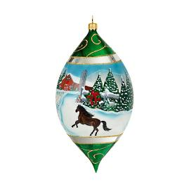 Vintage Snowy Barn Scene with Stallion Drop Ornament