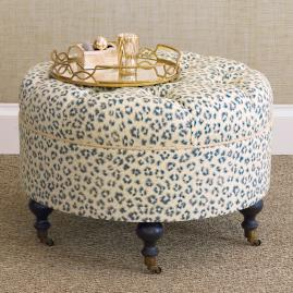 Emory Tabby Sapphire Round Ottoman