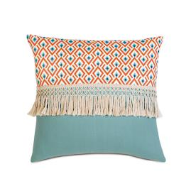 Suwanee Aqua Fringe Decorative Pillow