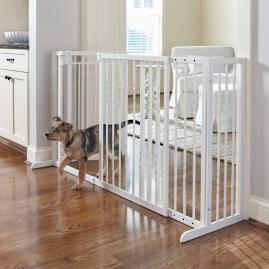 34-inch Freestanding Pet Barrier with Walk-through Door