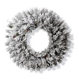 Flocked Norway Wreath with Meteor Lights