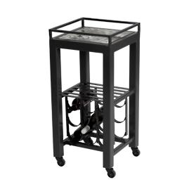 Galena Midnight Modern Wine Cart Table