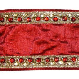 Red Dupion Garland with Embellished Gold Trim