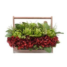 Ruby Hydrangea with Artichokes in Basket