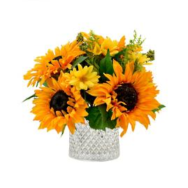 Isla Cluster of Sunflowers in Glass Vase