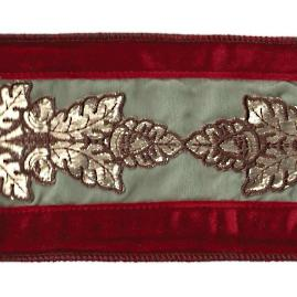 Red Velvet Garland with Metallic Leaf Embellishment