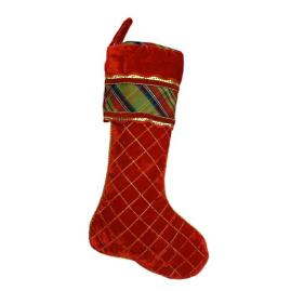 Quilted Red Velvet Christmas Stocking with McFarland Plaid
