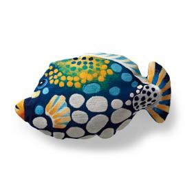 Blue Triggerfish Outdoor Lumbar Pillow