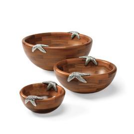 Starfish-Handled Acacia Serving Bowls, Set of Three