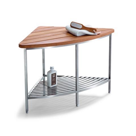 Marais Teak Stainless Corner Shower Seat Frontgate