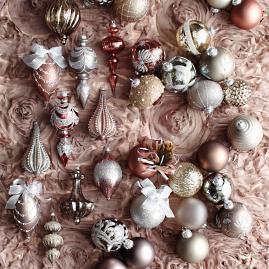 Matte Chocolate Mini Antique Ornaments, Set of Six