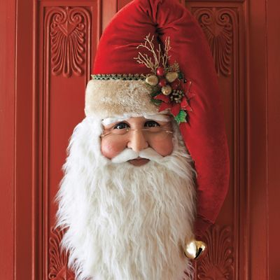 Traditional Santa Head With Poinsettia Frontgate