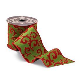 Green Dupioni with Red Glitter Flocked Swirls Ribbon