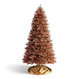 Tinsel Copper Slim Artificial Pre-lit Christmas Tree