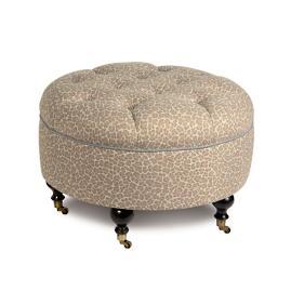 Parrish Fawn Round Ottoman