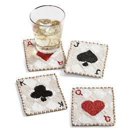 Kim Seybert Deck of Cards Beaded Coasters, Set