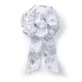 Silver Snowflake Pre-Made Bows, Set of Two