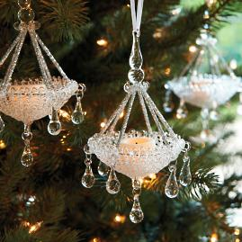 Glass Chandelier Ornaments, Set of Four