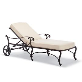 Orleans Chaise with Cushions in Chocolate Finish