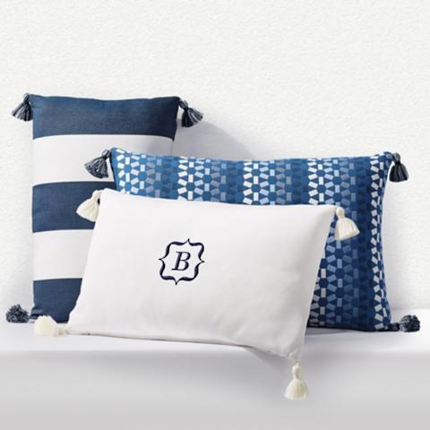 outdoor lumbar pillow with tassels