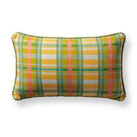 Lilly Plaid Citrus Outdoor Lumbar Pillow