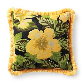 Hibiscus Beauty Onyx Outdoor Pillow