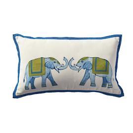 Roaming Elephants Indigo Outdoor Lumbar Pillow