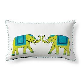 Roaming Elephants Tropic Outdoor Lumbar Pillow