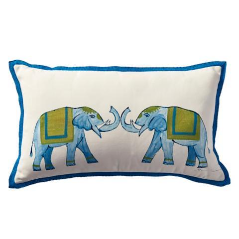 roaming elephants outdoor lumbar pillow
