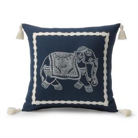 Tripura Elephant Indigo/Natural Outdoor Pillow