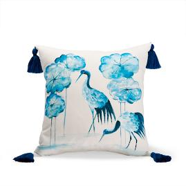 Wading Cranes Indigo Outdoor Pillow