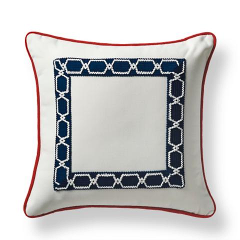 Mediterranean Border Indigo Outdoor Pillow