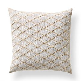 Beaded Fan Decorative Throw Pillow
