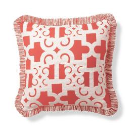 Oriental Gate Peony Outdoor Pillow
