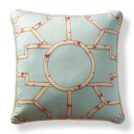 Scalamandre Baldwin Bamboo Aqua Outdoor Pillow