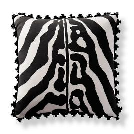 Scalamandre Zebra Skin Onyx Outdoor Pillow